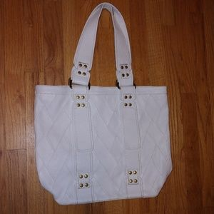 joes white leather purse